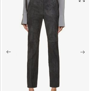 St. John Real Suede Leather Marie Gray Pants